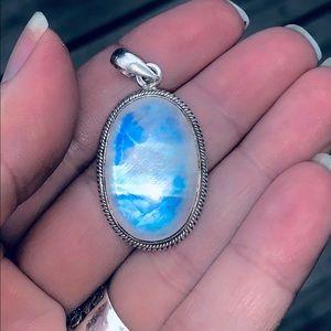 Jewelry - Genuine Rainbow Moonstone pendant in 925 Silver